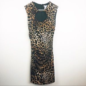 Cache | Leopard Animal Print Ruched Sheath Dress